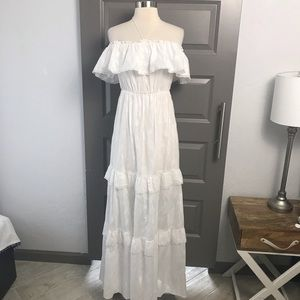 Fry B Anthropologie Off The Shoulder White Dress